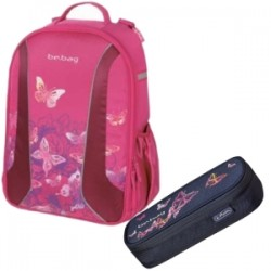 PLECAK BE.BAG + SASZETKA AIRGO WATERCOLOR BUTTERFLY HERLITZ