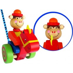 Małpka PCHANKA DREWNIANA Zabawka do Pchania PLAYME