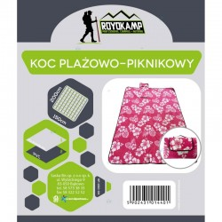 Koc Plażowo Piknikowy 200X150 Różowy Kwiaty Royokamp H1