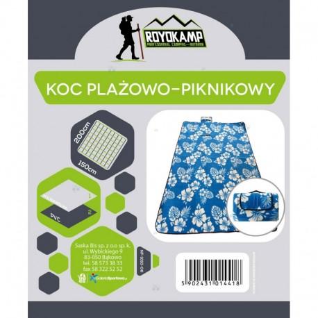 Koc Plażowo Piknikowy 200X150 Niebieski Kwiaty Royokamp H1