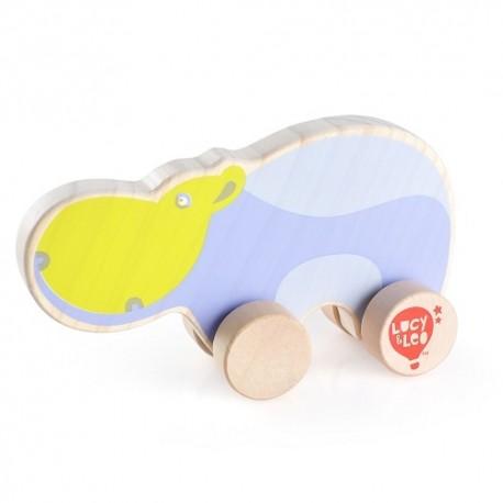 Drewniany hipopotam na kółkach dla malucha T1