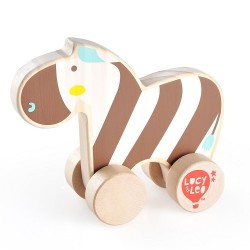 Drewniana zebra na kółkach dla malucha T1