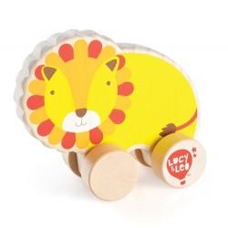 Drewniany lew na kółkach dla malucha T1