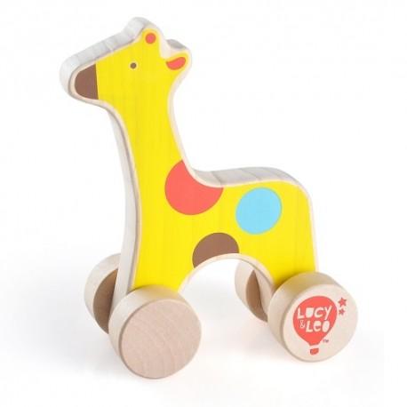Drewniana żyrafa na kółkach dla malucha T1