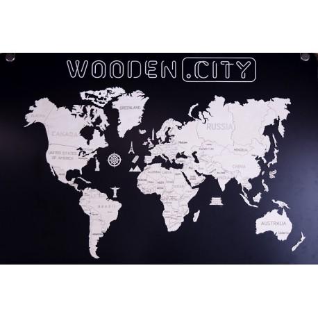 Drewniane puzzle 3D Wooden.City - Mapa Świata XXL T1