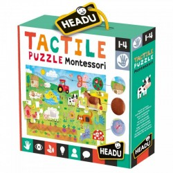 MONTESSORI PUZZLE SENSORYCZNE FARMA OD 1 DO 4 LAT HEADU